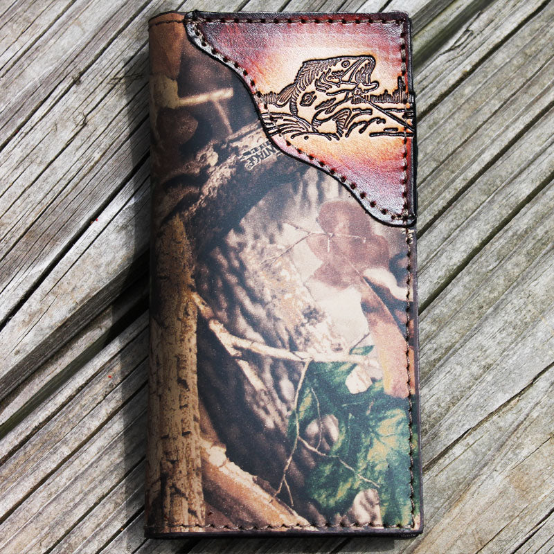 Bass Fishing Realtree Camo Leather Wallet