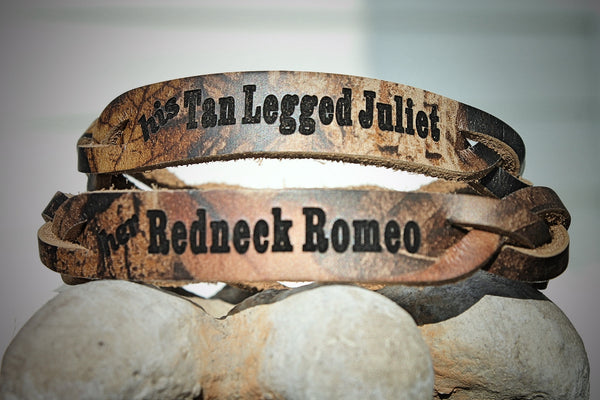 Her Redneck Romeo, His Tan Legged Juliet  Braided RealTree Camo LEATHER Bracelet -set of two bracelets