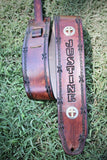 HandTooled Leather Guitar Strap, Christian Cross Guitar Strap, fully adjustable strap--Name Engraved Free! Made in the USA.
