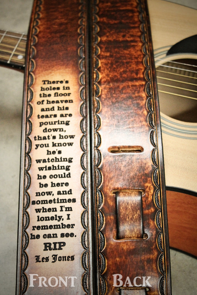 Custom Engraved Leather Guitar Strap, Handtooled Scallop Border,  by Miller's Leather Shop