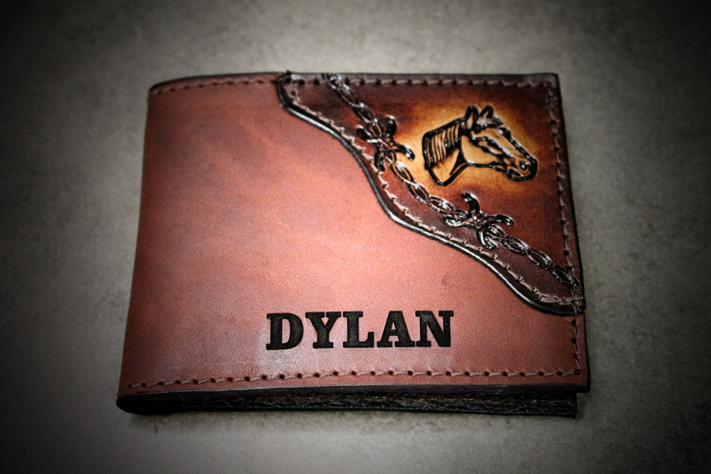 Horse and Barb Wire wallet, horse wallet, dad wallet, Personalized Free!