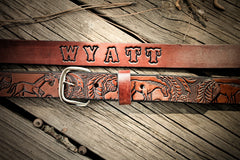 Handcrafted Leather Belt with Horse and Acorn tooled design (Solid Leather and no stitching)