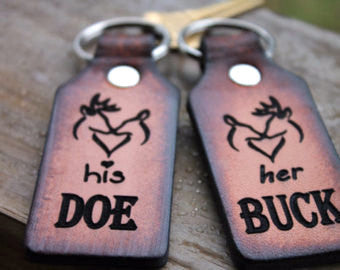 BUCK and DOE LEATHER Keychains - BROWN