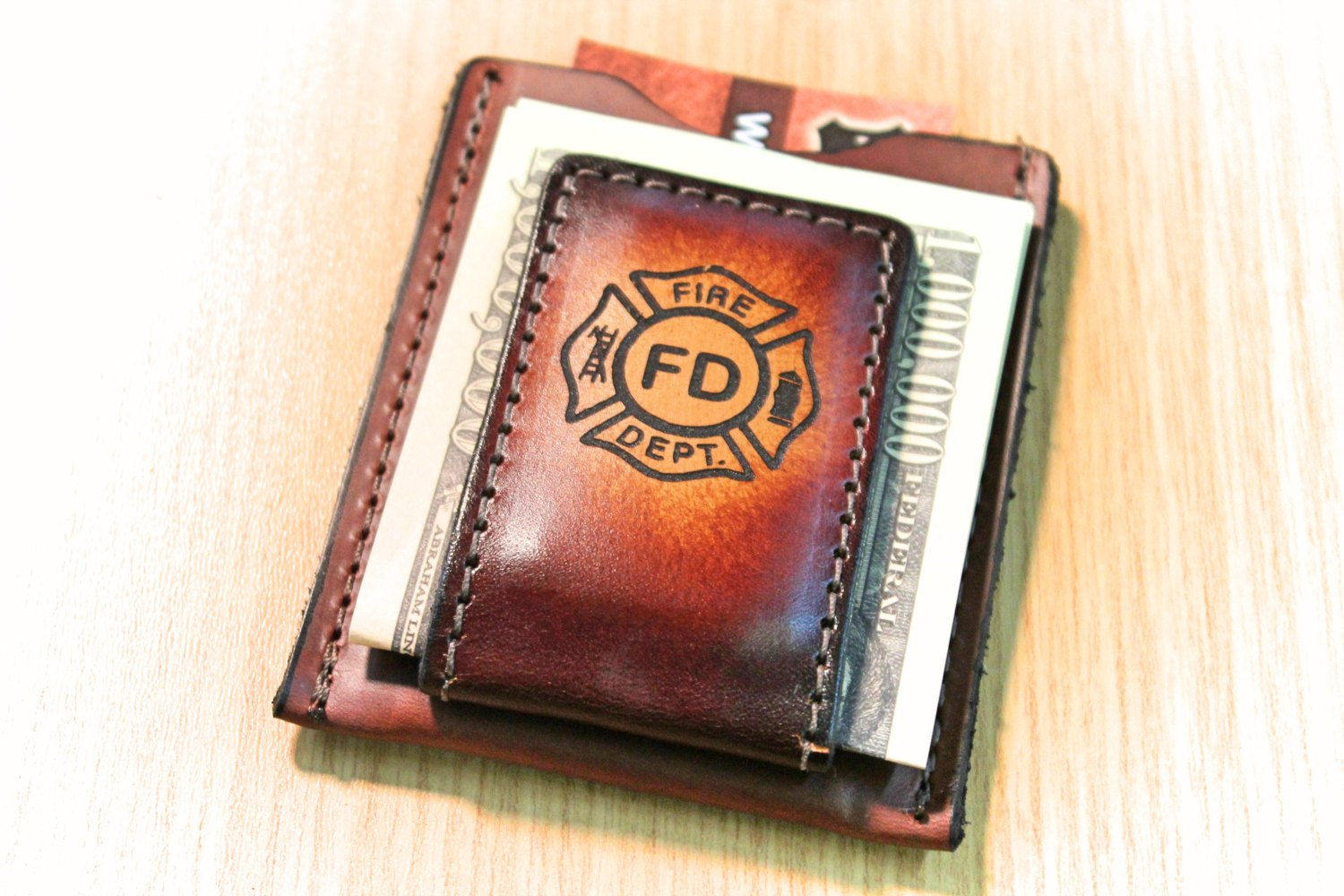 Fire Fighter wallet,  Maltese Cross Wallet,  Money clip wallet,  Fireman gift,   Initials Engraved Free