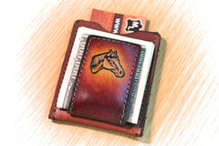 Horse wallet and money clip, horse wallet, front pocket wallet, personalized wallet, monogrammed wallet,  Initials Engraved Free