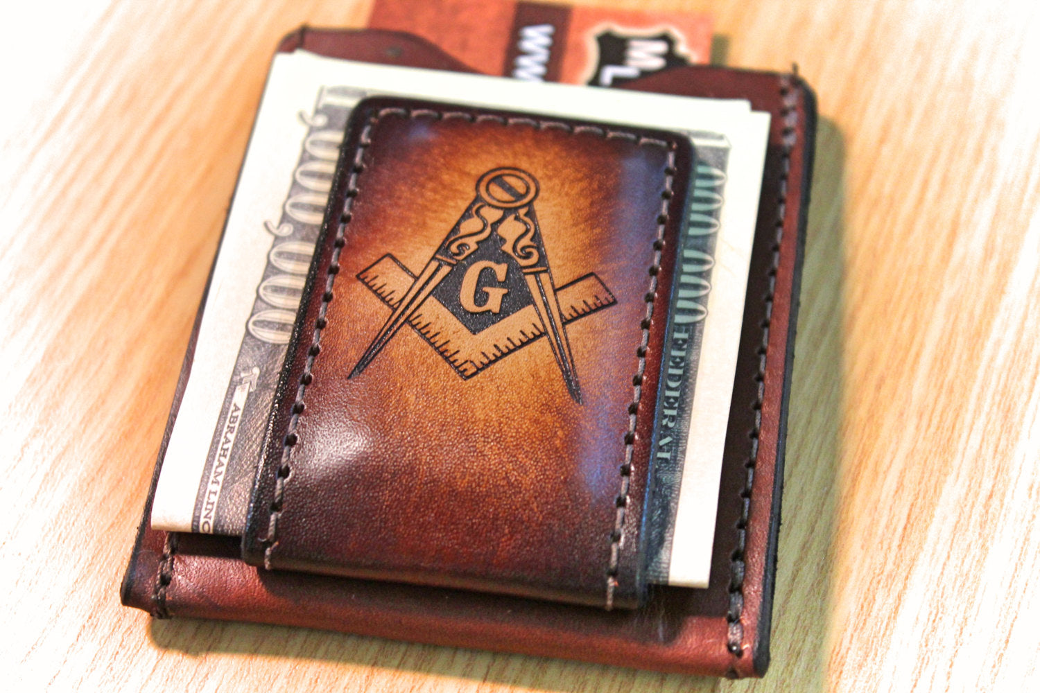 MASON WALLET and Money clip, Masonic Lodge gift, groomsmen gift for Mason, personalized wallet, monogrammed wallet,  Initials Engraved Free