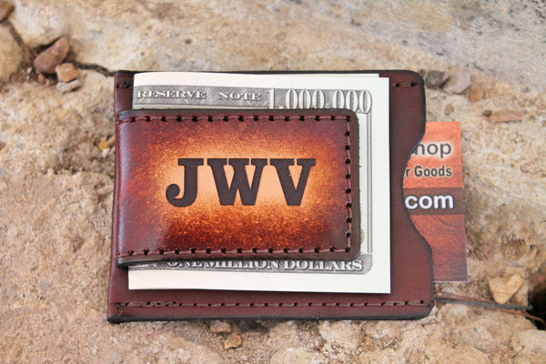 Leather Wallet and Money Clip, engraved money clip, groomsmen gift, Money clip wallet, Initials Engraved Free!  Made in the USA