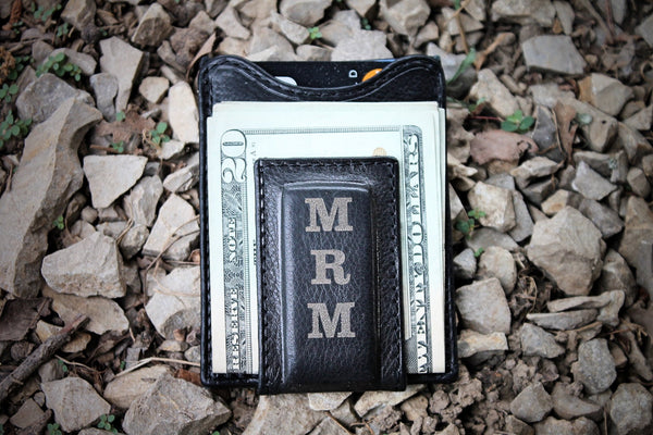 Groomsman Gift, Black leather Money Clip Wallet, Thin Wallet, MINIMALIST wallet,  Initials or Monogram engraved FREE