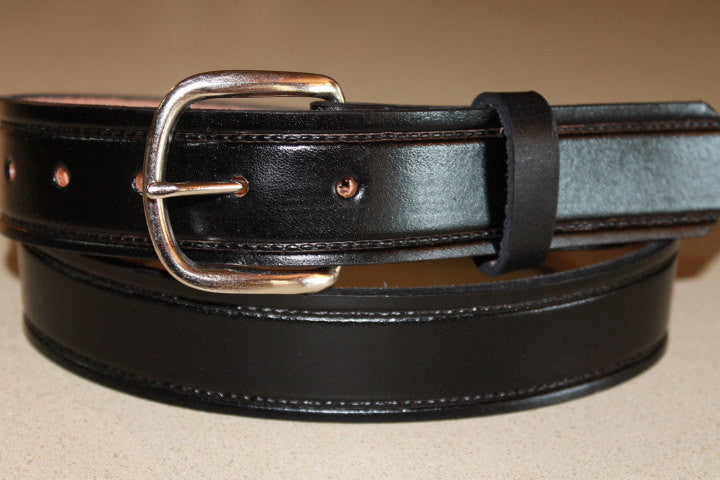 Handcrafted Leather Belt  with tooled border line(Solid Leather and no stitching)
