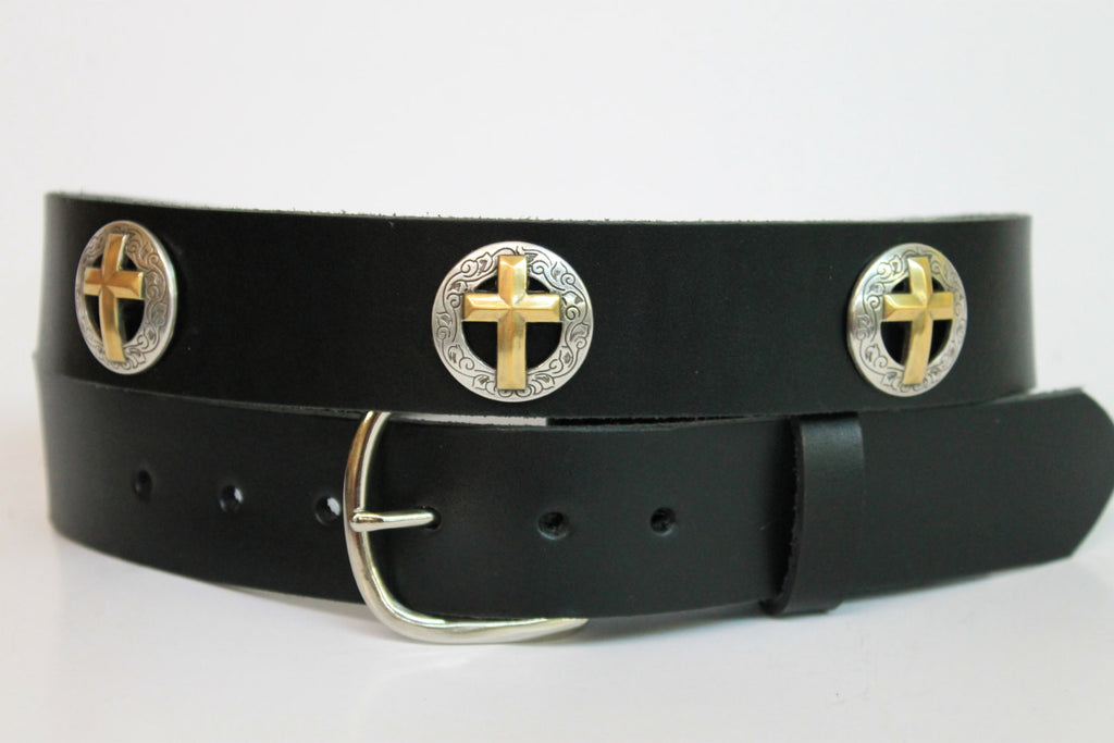 Handcrafted Leather Belt  with Christian Cross Accents spaced evenly around (Solid Leather and no stitching)
