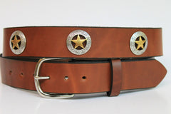 Handcrafted Leather Belt  with Western Star Accents spaced evenly around (Solid Leather and no stitching)