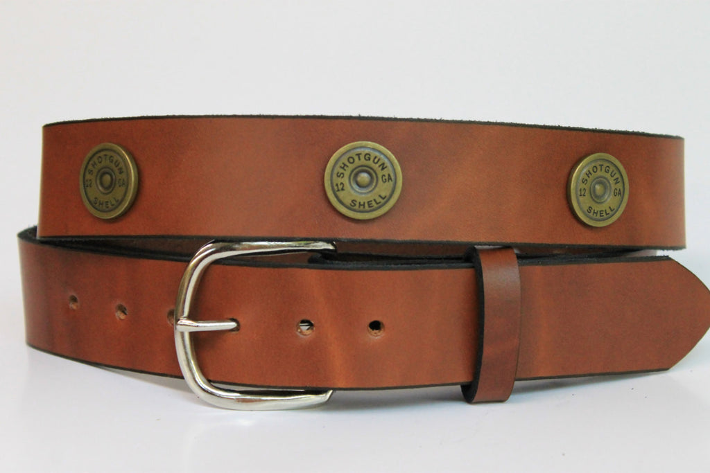 Handcrafted Leather Belt  with 12 Guage Shotgun Shell Conchos spaced evenly around (Solid Leather and no stitching)