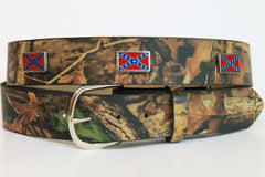 Handcrafted RealTree Camo Leather Belt with Rebel Flag Conchos spaced evenly around the belt