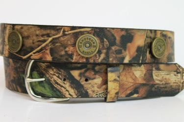Handcrafted RealTree Camo Leather Belt with shotgun shell accents