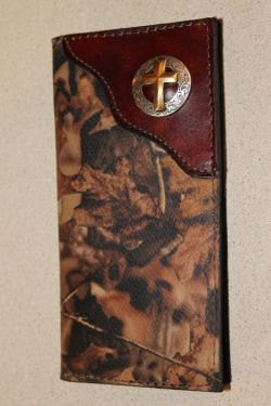 Roper Checkbook Wallet in Realtree Camo Leather with Christian Cross Concho--Personalized Free!
