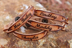 Custom engraved braided leather bracelet, Names, dates, initials included, Gift boxed Free!