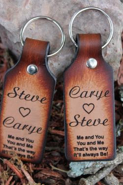 Handcrafted Leather Key Chain Set --Me and You, You and Me--Engraved with Names Free--Gift Boxed