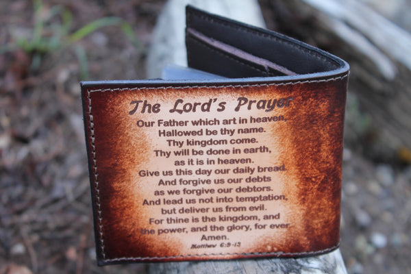 Praying Hands Brown Leather Wallet with Engraved Lords Prayer