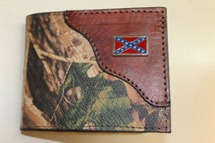 Bifold Wallet RealTree Camo Leather with REBEL FLAG Concho-- Initials engraved Free!