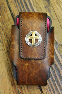 Leather Cell Case with Christian Cross (cut to fit your phone)