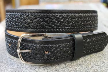 Handcrafted Leather Belt  with Detailed Smaller Basket Weave Design (Solid Leather, No Stitching)
