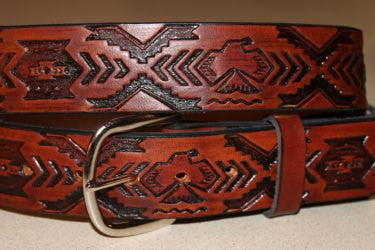 Handcrafted Leather Belt  with Thunderbird Southwest Tooled Design (Solid Leather, No Stitching)