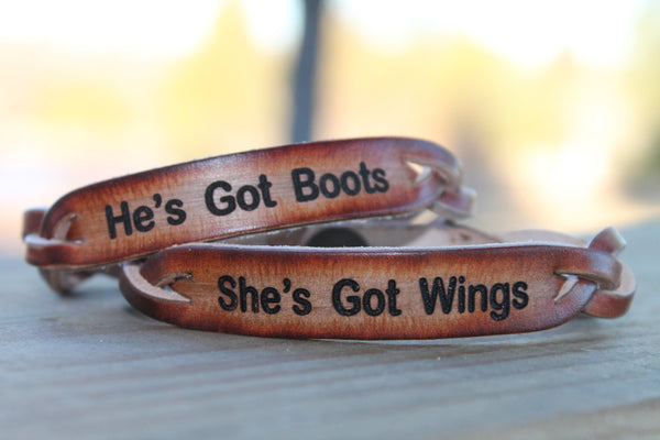 he's got boots.....she's got wings--Couple's Bracelet Set (Both included)