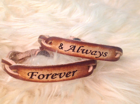 Braided leather Bracelet set of two for a couple to exchange--engraved with Forever & Always