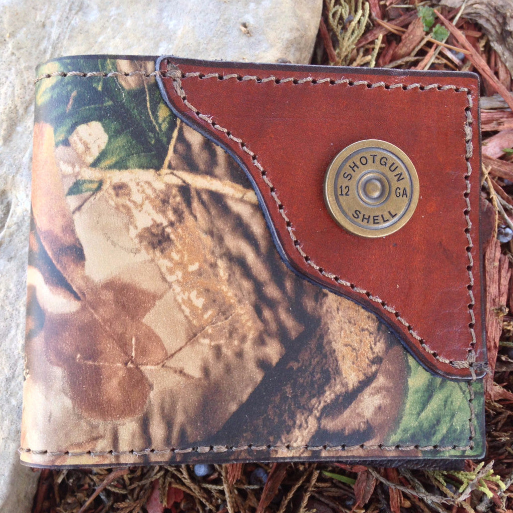 Camo Wallet, Shotgun Shell, Hunter wallet, Initials Free!