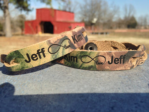Infinity Love, Custom Engraved Bracelets, Real Tree Camo Leather, His and Her Set