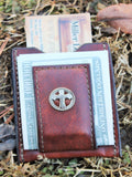 Groomsman Gift--Brown Leather  Moneyclip Wallet with Roomy Pocket for Credit Cards accented with the Christian Cross