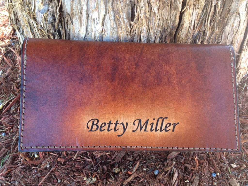 Personalized Classic Leather Checkbook Cover