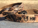 RealTree Camo Braided Leather  Bracelet Set of 2 for a couple to exchange--Initials short name engraved FREE!