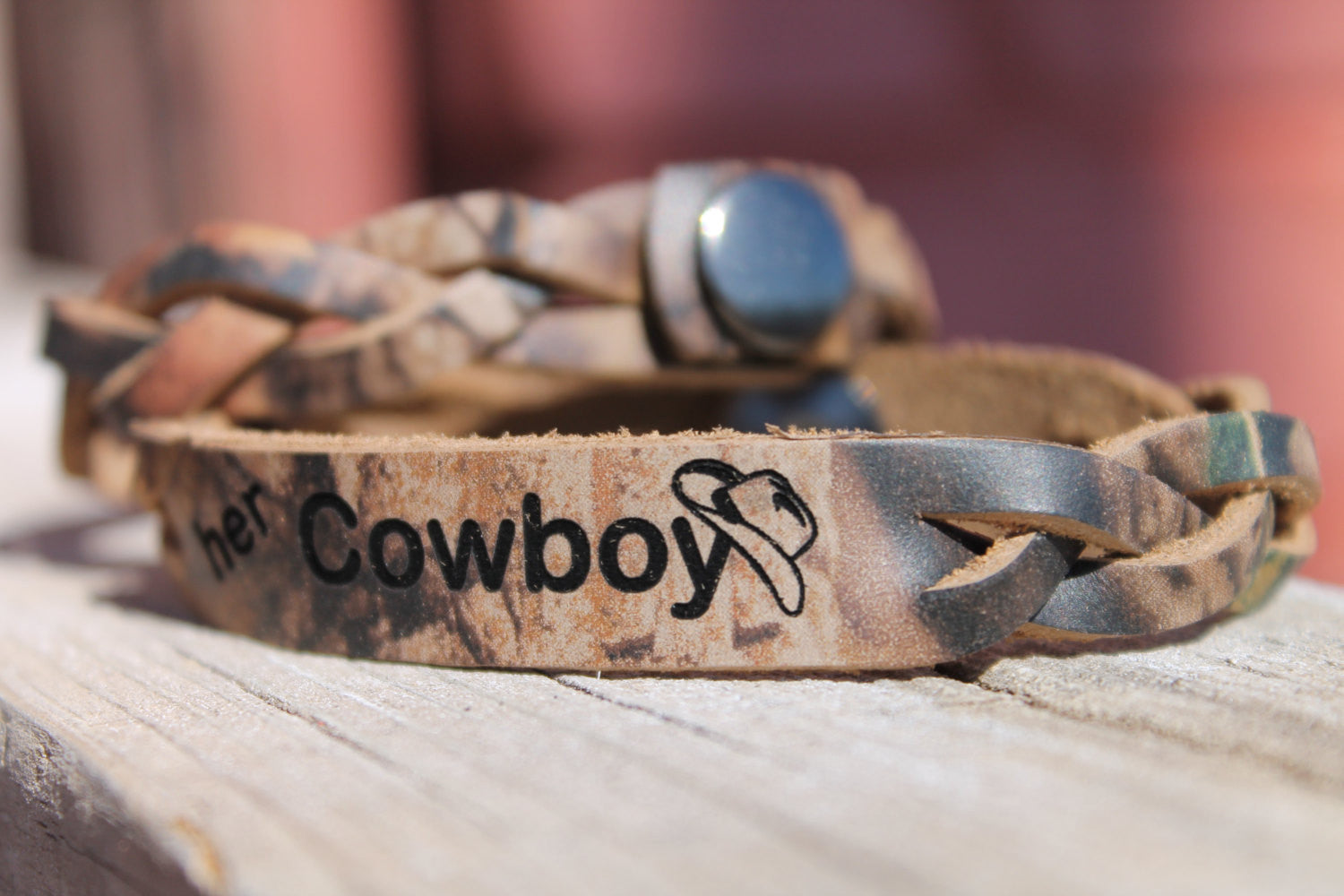 His Angel And Her Cowboy Braided Realtree Camo Leather