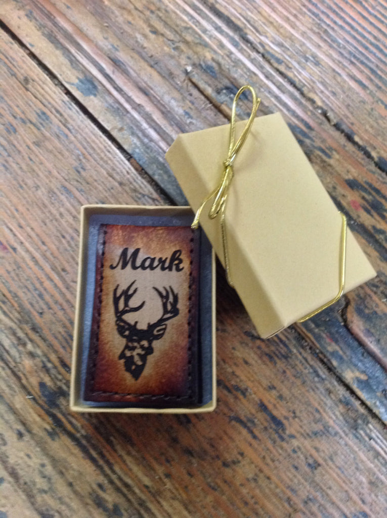 Magnetic Moneyclip, Tooled Leather with Deer and Engraved Name or Initials Free!