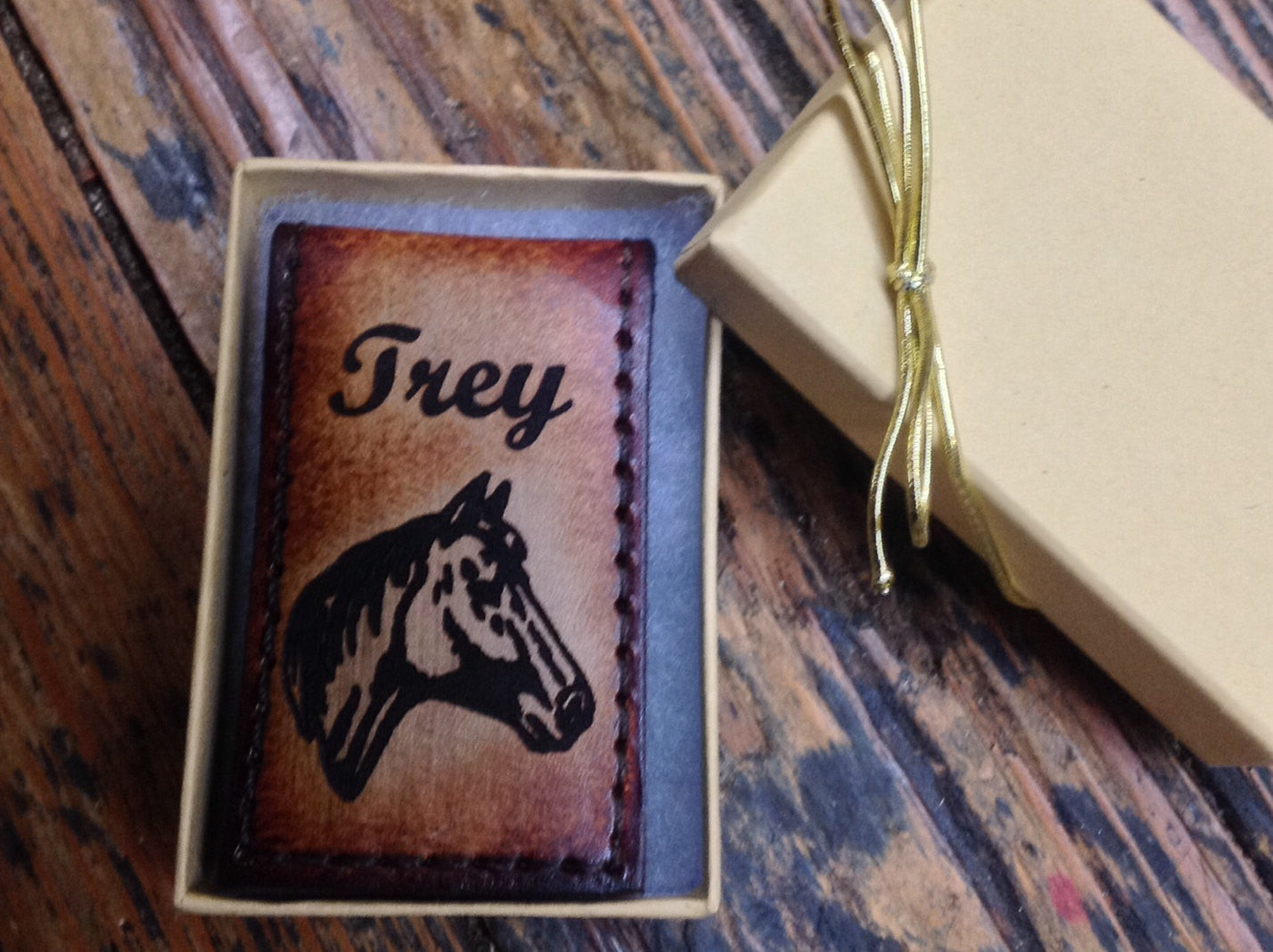 Magnetic Moneyclip, Tooled Leather with Horse Head and Engraved Name or Initials Free!