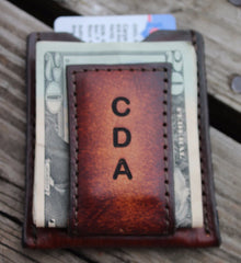 Groomsman Gift Magnetic Moneyclip Wallet with Pocket for Credit Cards --Brown Shown(Initials Engraved Free)
