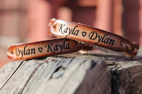 Custom Engraved Braided Leather  Bracelet SET of TWO--two names and heart between