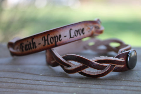 Braided Leather Bracelet (one bracelet)-Engrave with Faith, Hope and Love
