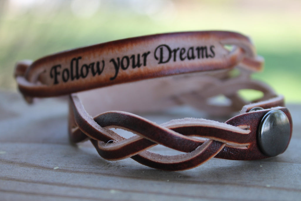 Braided Leather Bracelet (one bracelet)-Custom Engraved with Short Quote