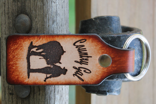 Tooled Leather Keychain with Country Gal-- Girl and Horse--  Name Engraved  FREE!! Gift Box included.