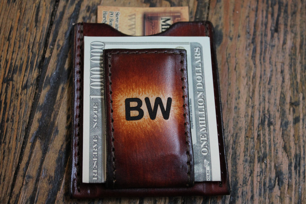 Groomsmen Gift Personalized Brown Leather Wallet & Money Clip --Engraved Free and Gift Boxed! Handmade in the USA!