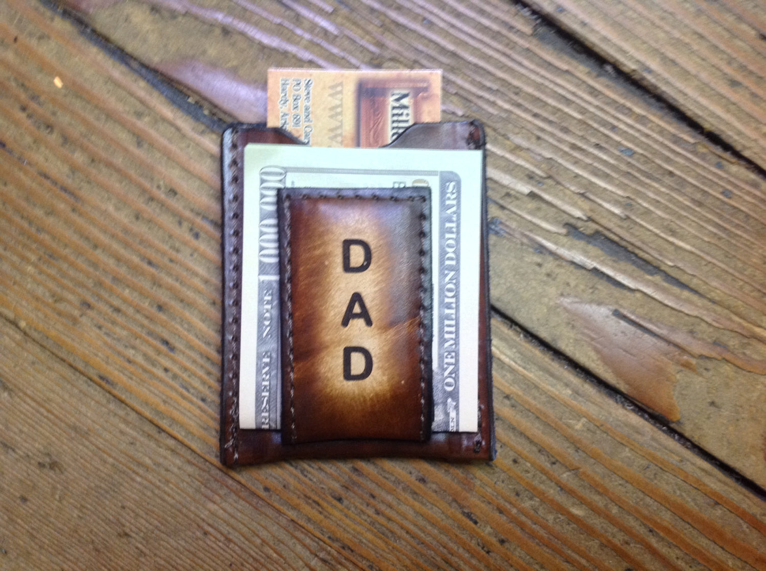Brown Leather Wallet & Money Clip --Engraved DAD Free and Gift Boxed! Handmade in the USA!