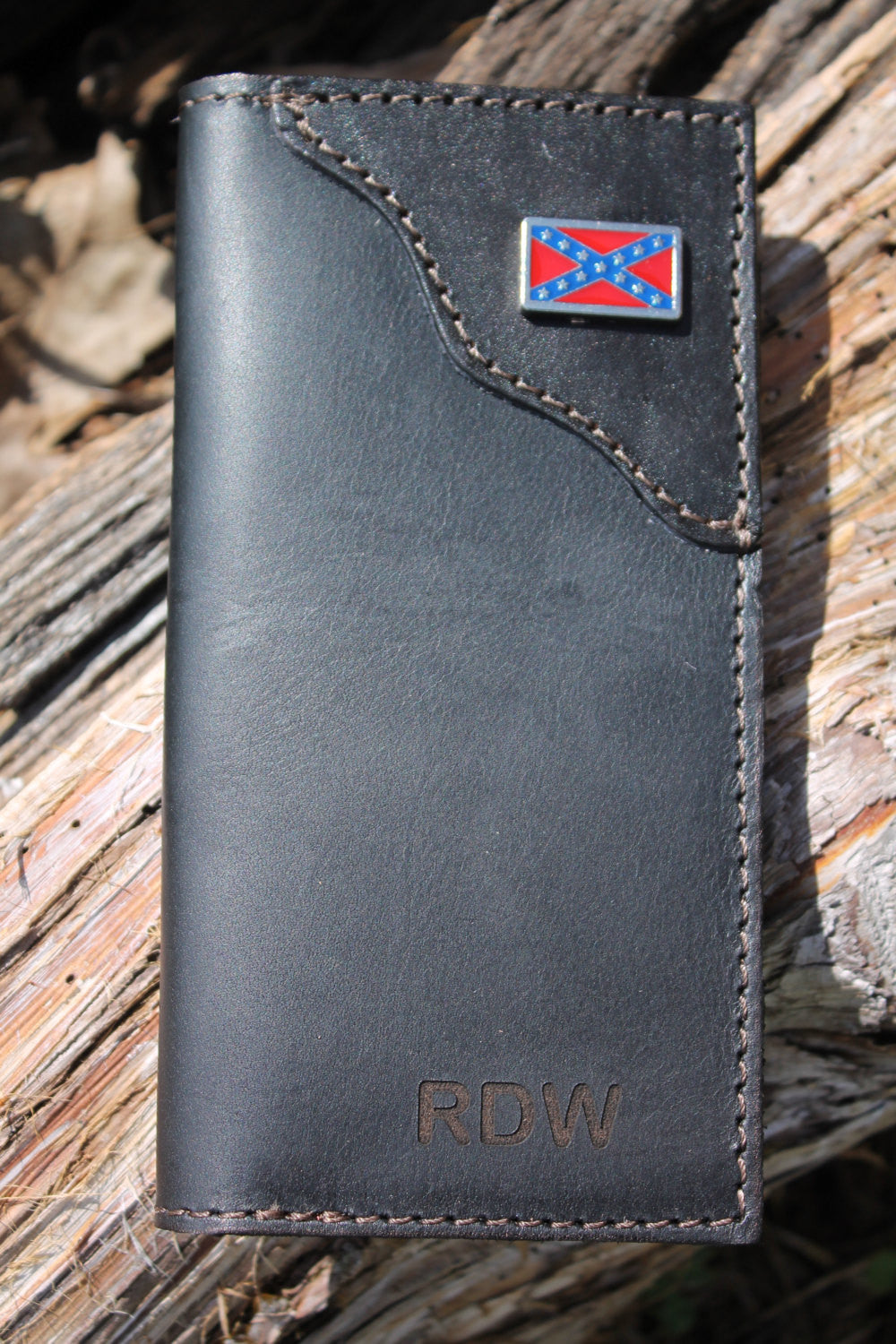 Roper Checkbook Wallet BLACK on BLACK Leather with Rebel Flag Concho--Initials Engraved Free!