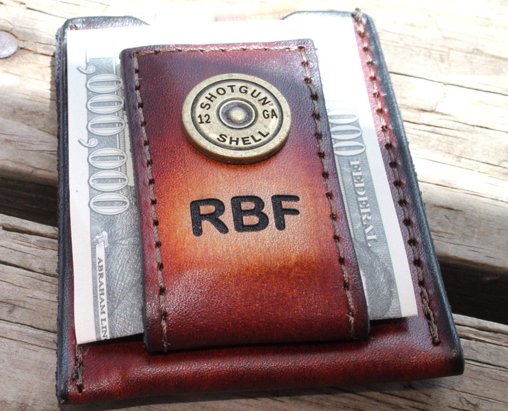 Best Groomsmen Gift Personalized Brown Leather Wallet & Money Clip --Shot Gun Shell Accent and Initials Engraved Free!