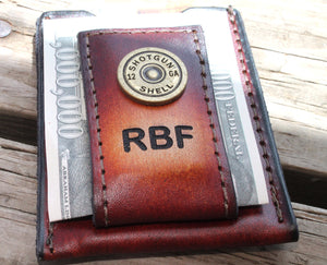 Money clip wallet, Shotgun Shell accent, Initials Free!