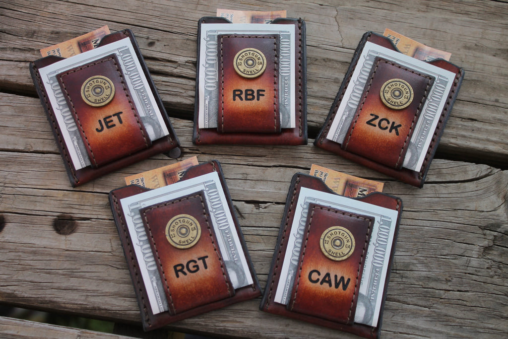 Groomsmen Gift Personalized Brown Leather Wallet & Money Clip --SHOT GUN SHELL Accent and Initials Engraved Free!