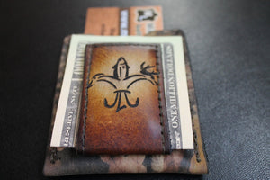 Brown Sportsman's Logo Money Clip Wallet with Real Tree Camo pocket-- --Great Groomsmen's Gifts --