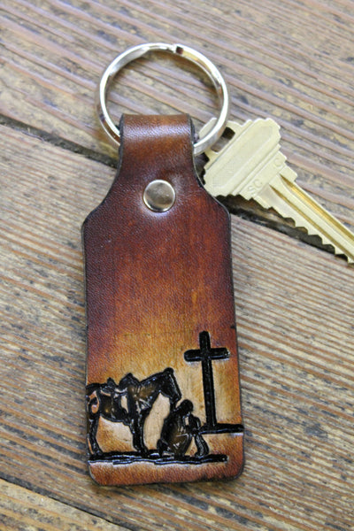 Key Chain Tooled Leather With Cowboy At The Cross Praying