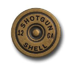 Set of 6 Shotgun Shell Conchos with caps  in Antique Brass--Rivet Back